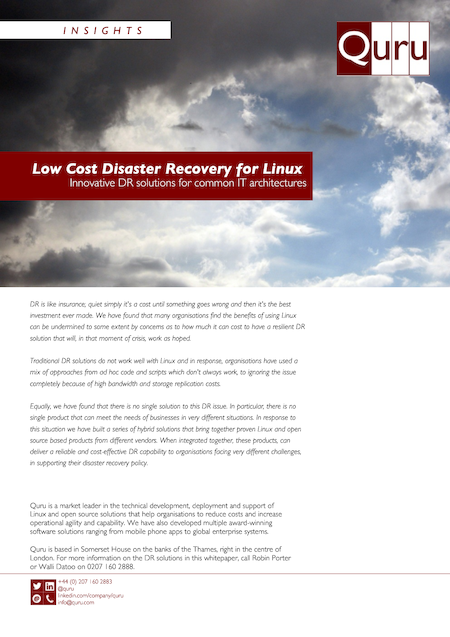 Low cost disaster recovery for Linux